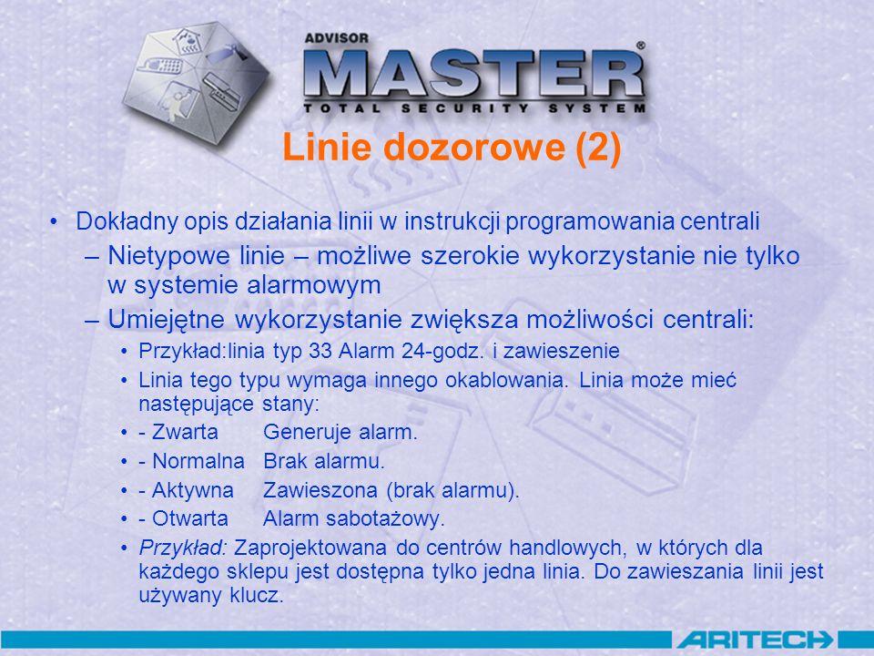 Linie dozorowe (2) Dokładny opis działania linii w instrukcji programowania centrali.