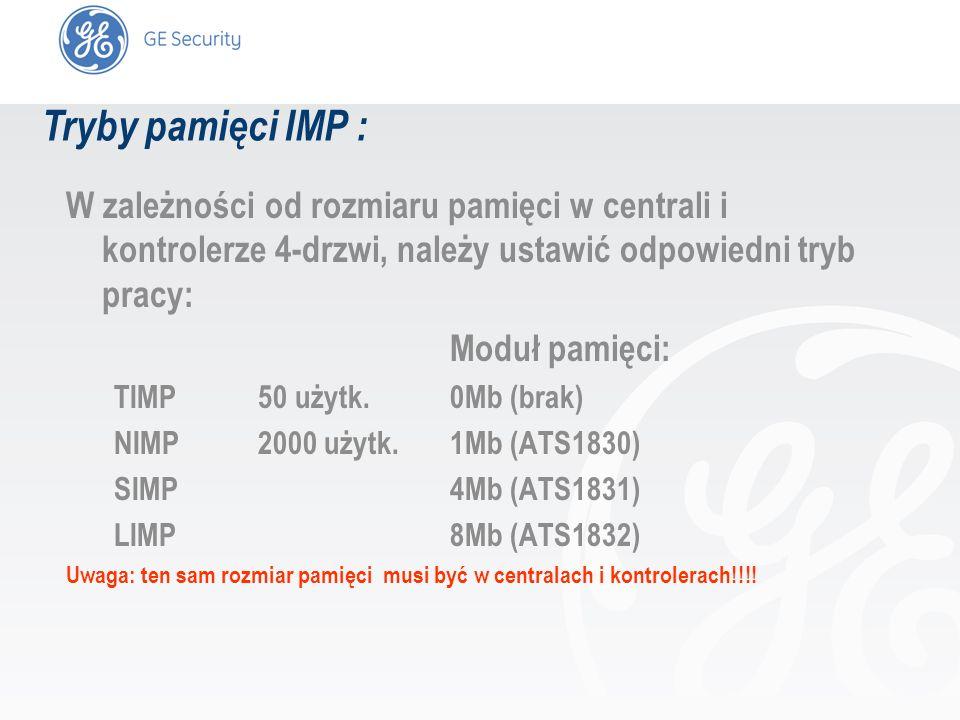 Tryby pamięci IMP : W zależności od rozmiaru pamięci w centrali i kontrolerze 4-drzwi, należy ustawić odpowiedni tryb pracy: