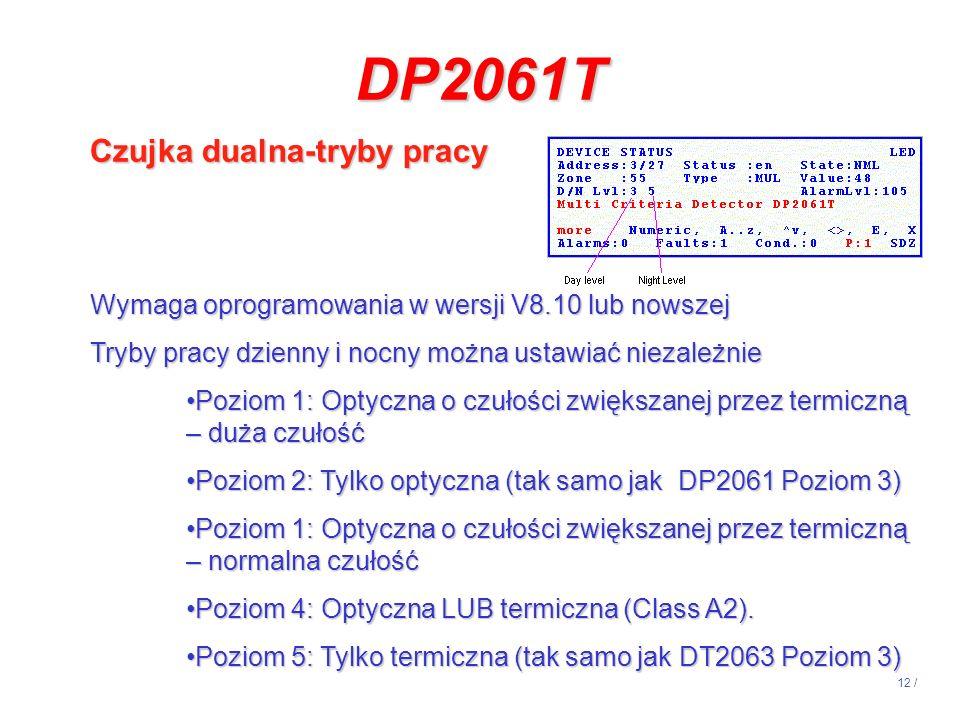 DP2061T Czujka dualna-tryby pracy