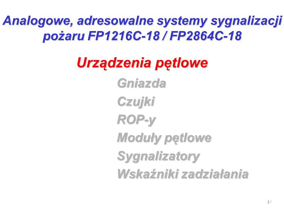 14:13 Analogowe, adresowalne systemy sygnalizacji pożaru FP1216C-18 / FP2864C-18. Urządzenia pętlowe.