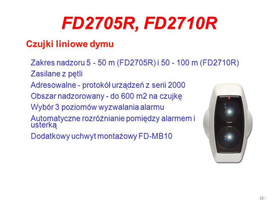 FD2705R, FD2710R Czujki liniowe dymu