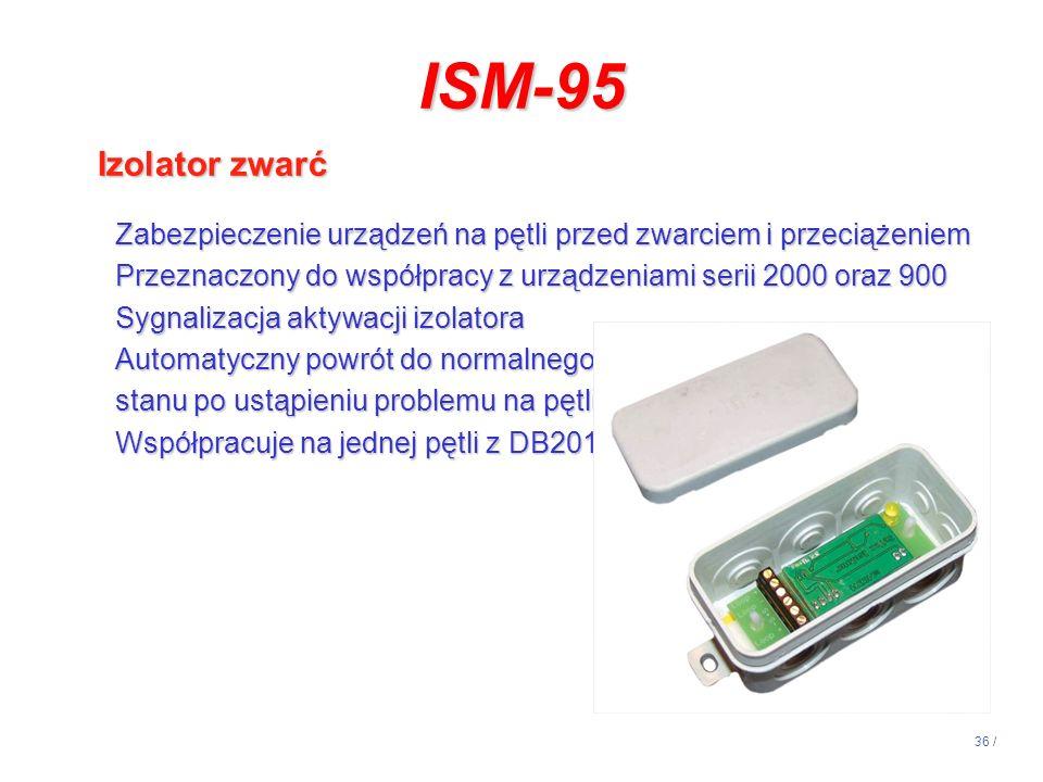 14:13 ISM-95. Izolator zwarć. Zabezpieczenie urządzeń na pętli przed zwarciem i przeciążeniem.