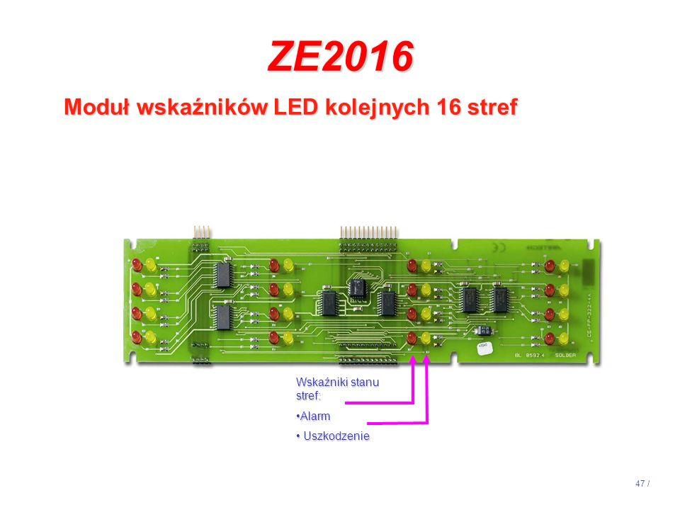 ZE2016 Moduł wskaźników LED kolejnych 16 stref 14:13