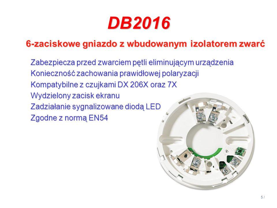 DB2016 6-zaciskowe gniazdo z wbudowanym izolatorem zwarć