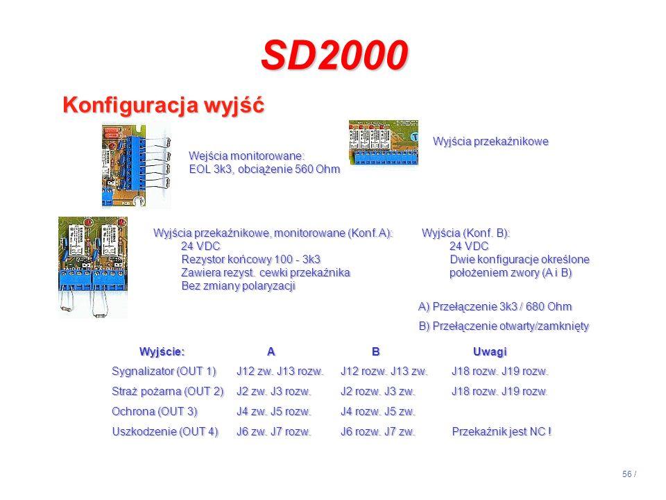 SD2000 Konfiguracja wyjść 14:13 Wyjścia przekaźnikowe