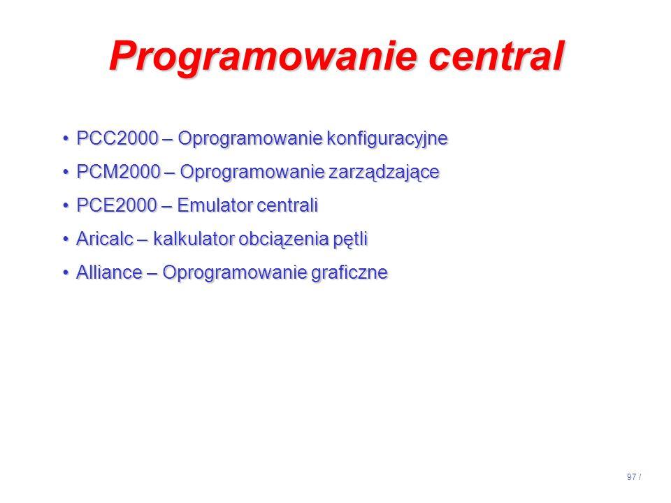 Programowanie central