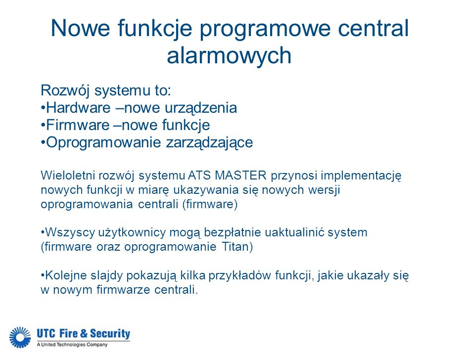 Nowe funkcje programowe central alarmowych
