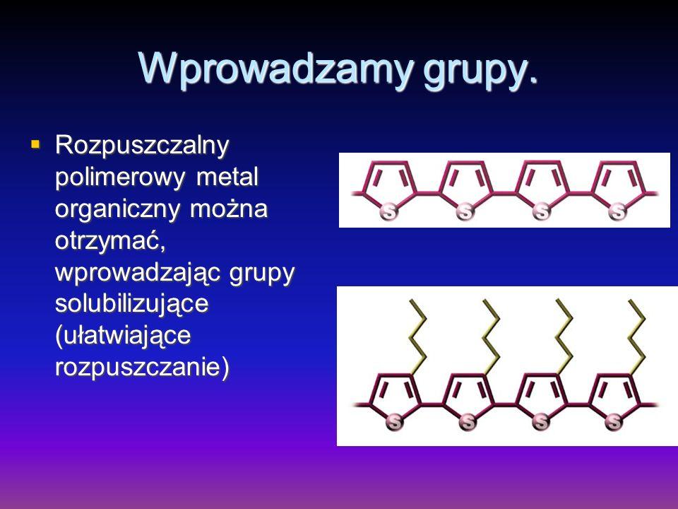Wprowadzamy grupy.Rozpuszczalny polimerowy metal organiczny można otrzymać, wprowadzając grupy solubilizujące (ułatwiające rozpuszczanie)