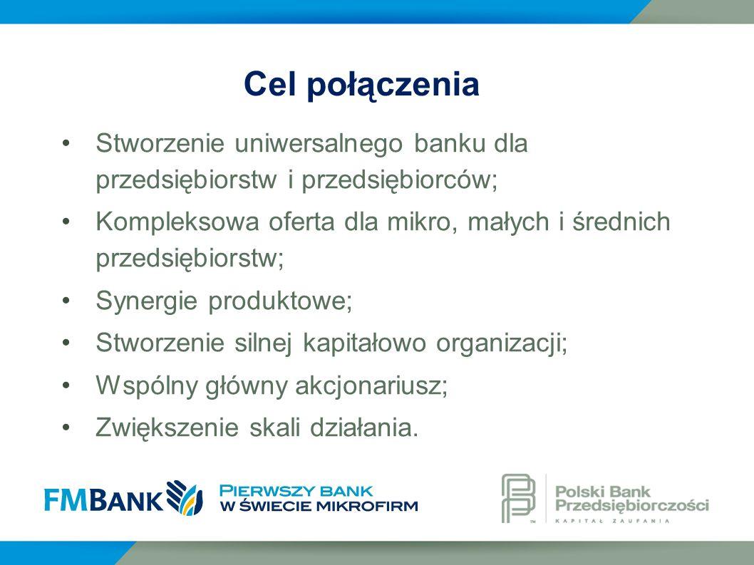 Cel połączenia Stworzenie uniwersalnego banku dla przedsiębiorstw i przedsiębiorców;