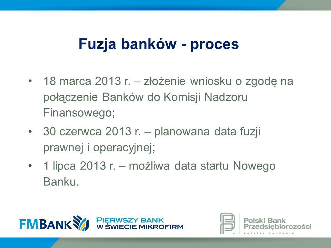 Fuzja banków - proces 18 marca 2013 r. – złożenie wniosku o zgodę na połączenie Banków do Komisji Nadzoru Finansowego;
