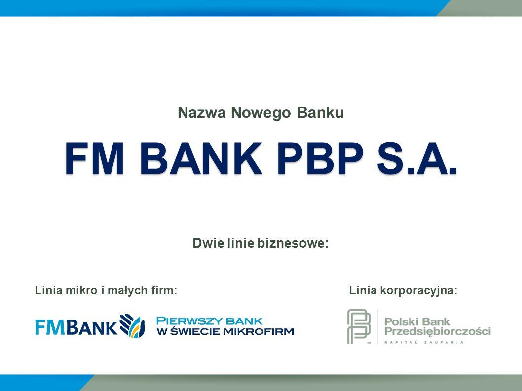 FM BANK PBP S.A. Nazwa Nowego Banku Dwie linie biznesowe: