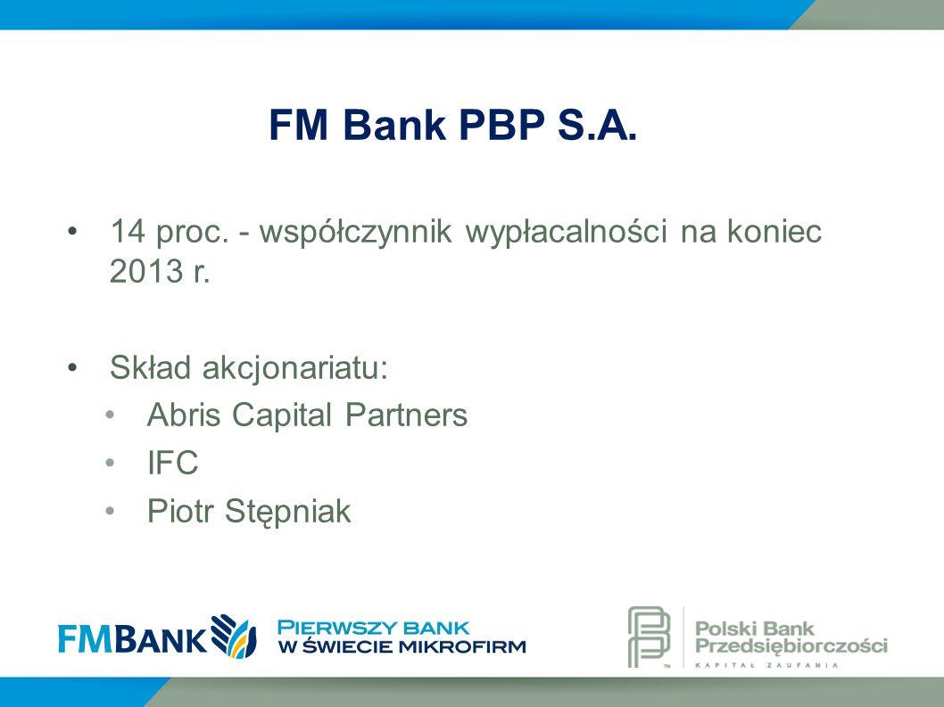FM Bank PBP S.A. 14 proc. - współczynnik wypłacalności na koniec 2013 r. Skład akcjonariatu: Abris Capital Partners.