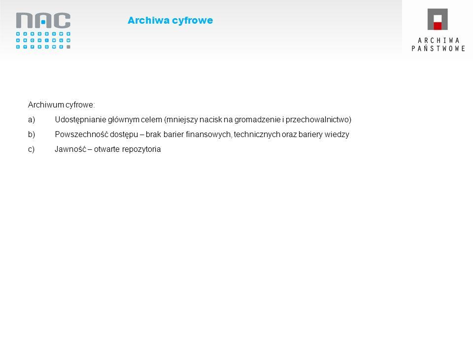 Archiwa cyfrowe Archiwum cyfrowe: