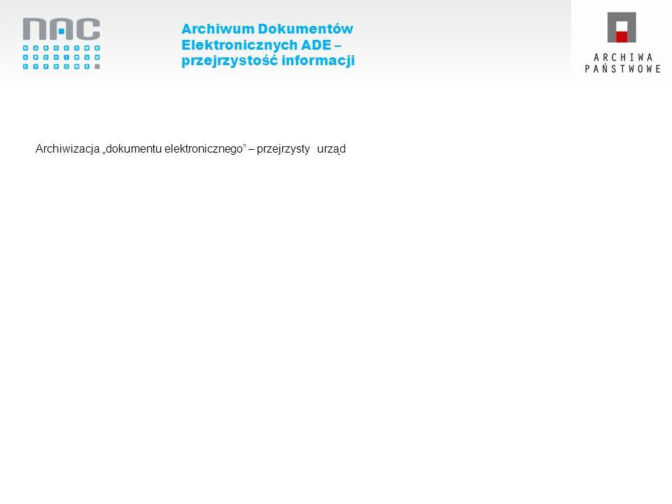 Archiwum Dokumentów Elektronicznych ADE – przejrzystość informacji