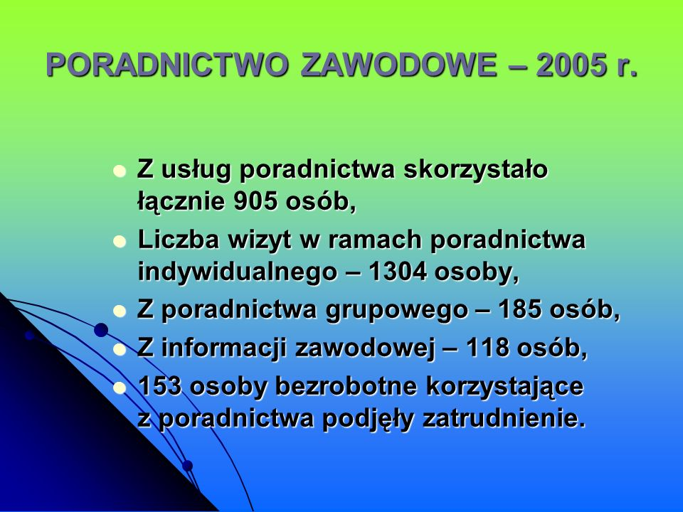 PORADNICTWO ZAWODOWE – 2005 r.