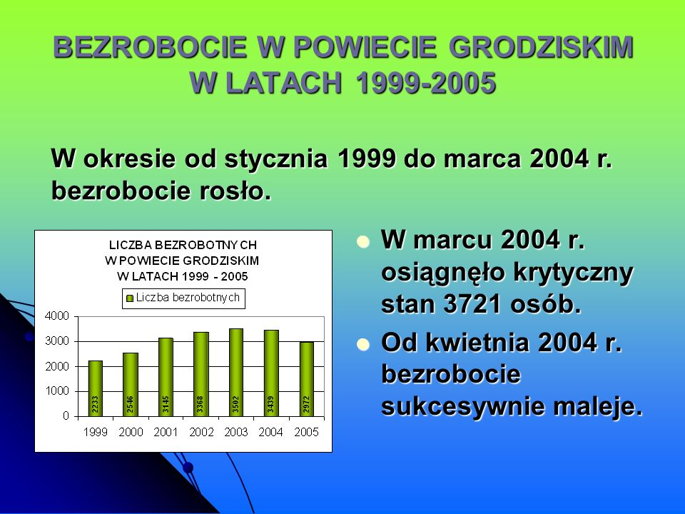 BEZROBOCIE W POWIECIE GRODZISKIM W LATACH 1999-2005