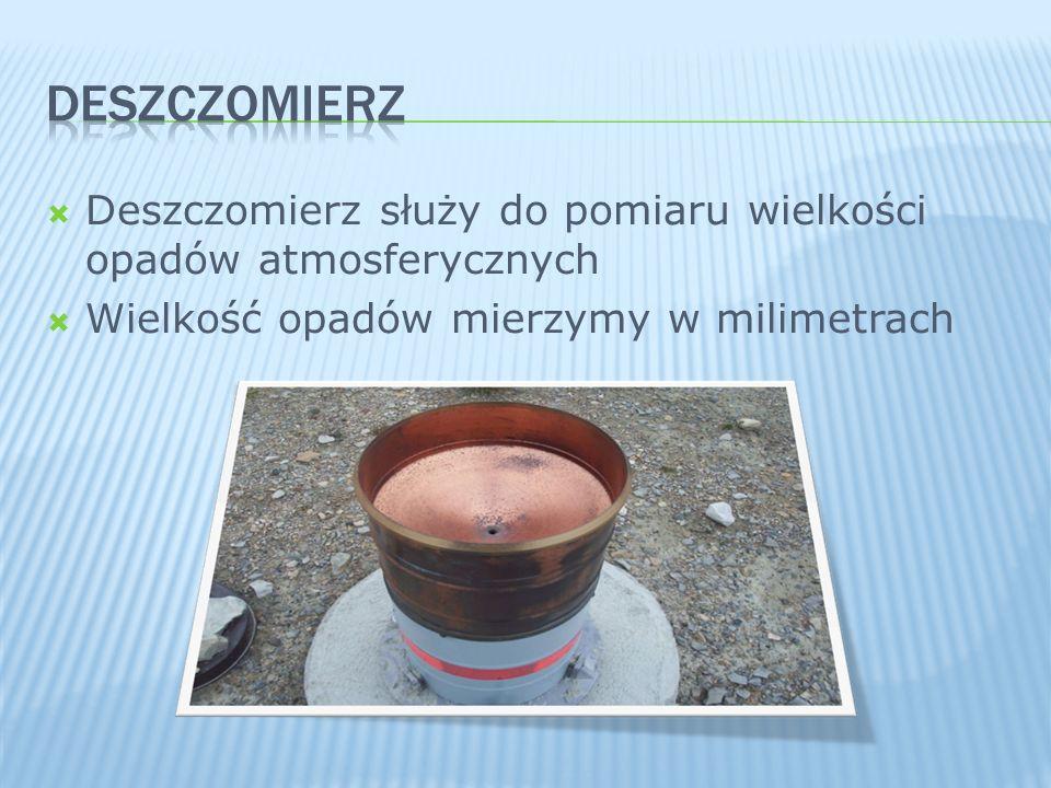 DESZCZOMIERZ Deszczomierz służy do pomiaru wielkości opadów atmosferycznych.