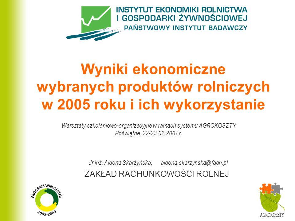 Wyniki ekonomiczne wybranych produktów rolniczych w 2005 roku i ich wykorzystanie