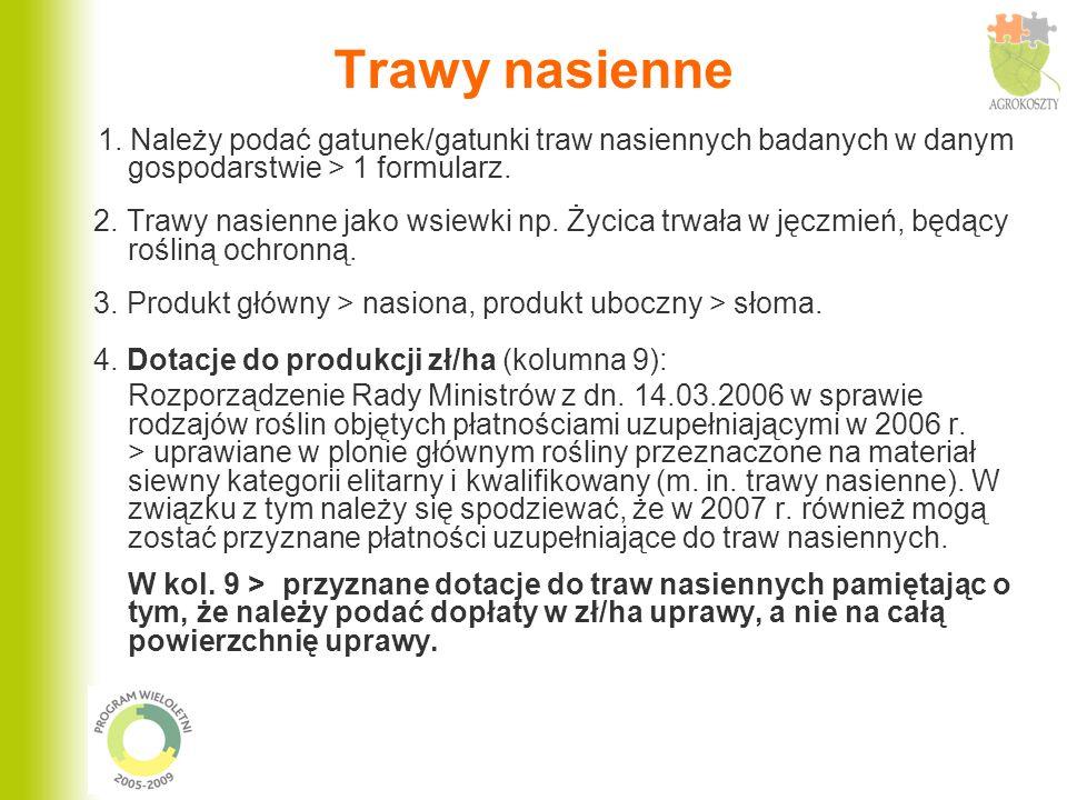 Trawy nasienne 1. Należy podać gatunek/gatunki traw nasiennych badanych w danym gospodarstwie > 1 formularz.