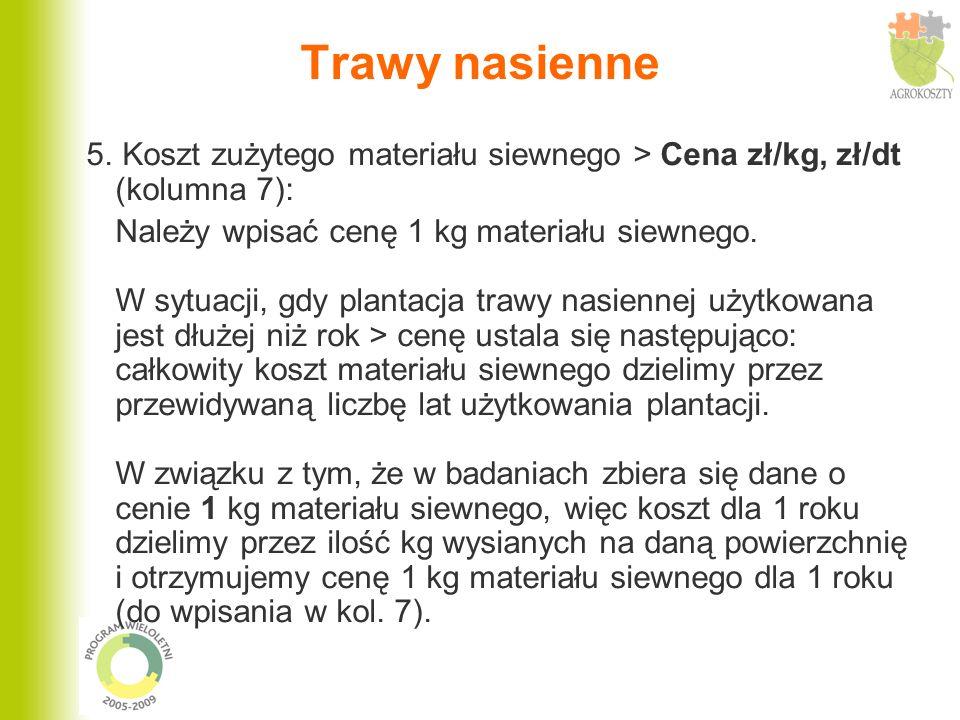 Trawy nasienne 5. Koszt zużytego materiału siewnego > Cena zł/kg, zł/dt (kolumna 7): Należy wpisać cenę 1 kg materiału siewnego.