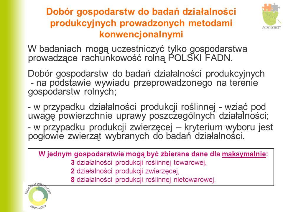 Dobór gospodarstw do badań działalności produkcyjnych prowadzonych metodami konwencjonalnymi