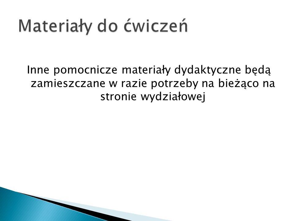 Materiały do ćwiczeń Inne pomocnicze materiały dydaktyczne będą zamieszczane w razie potrzeby na bieżąco na stronie wydziałowej.