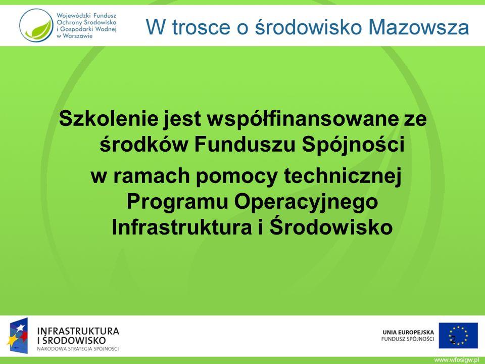 Szkolenie jest współfinansowane ze środków Funduszu Spójności