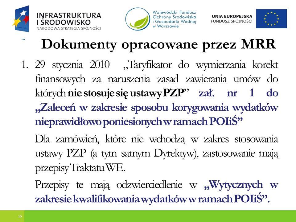 Dokumenty opracowane przez MRR