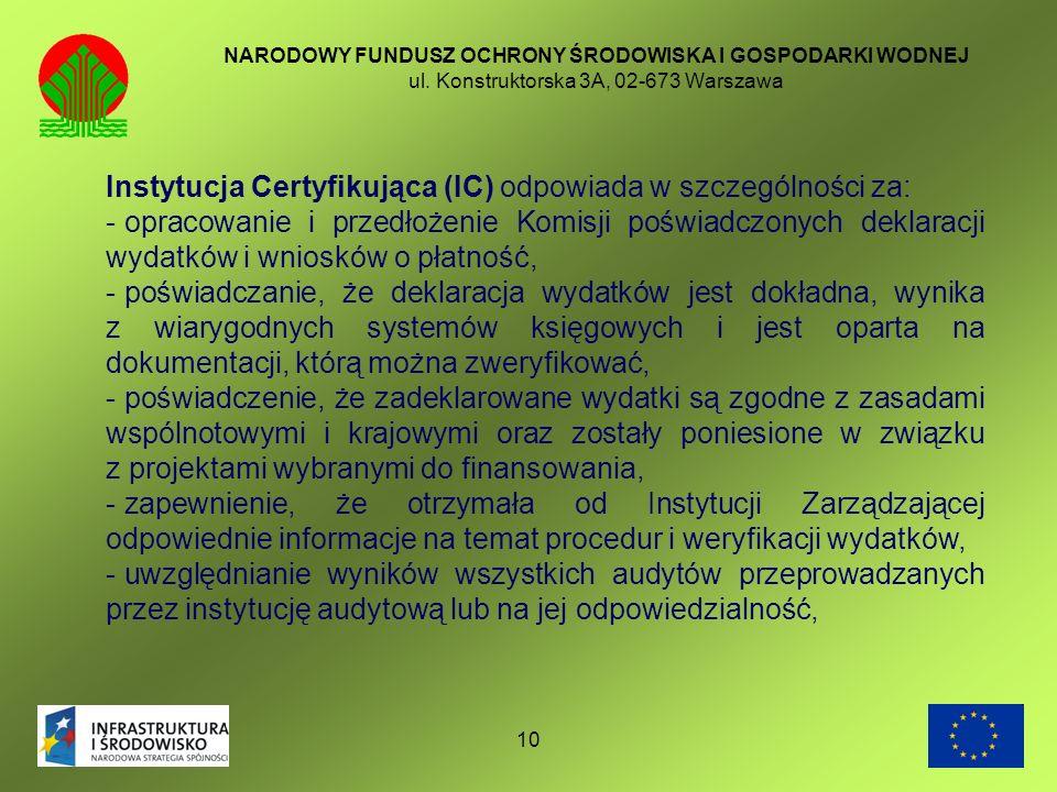 Instytucja Certyfikująca (IC) odpowiada w szczególności za: