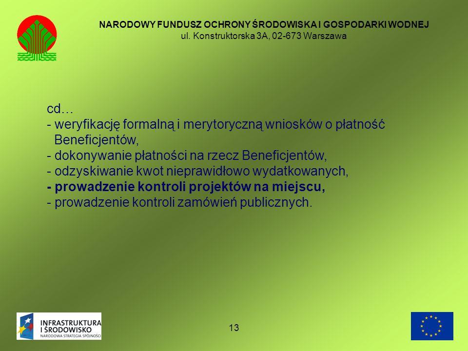 - weryfikację formalną i merytoryczną wniosków o płatność