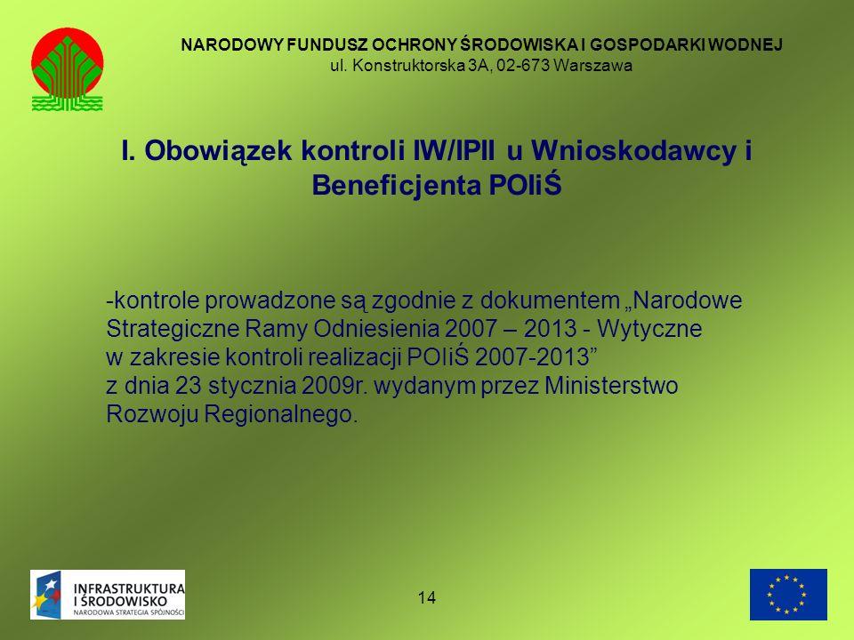 I. Obowiązek kontroli IW/IPII u Wnioskodawcy i Beneficjenta POIiŚ