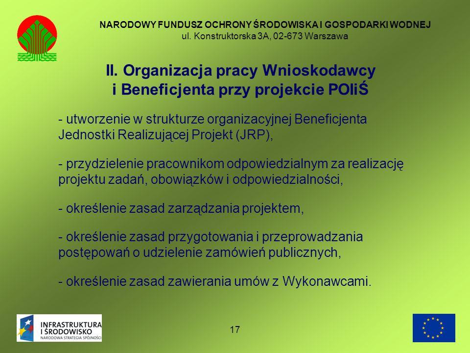 II. Organizacja pracy Wnioskodawcy i Beneficjenta przy projekcie POIiŚ