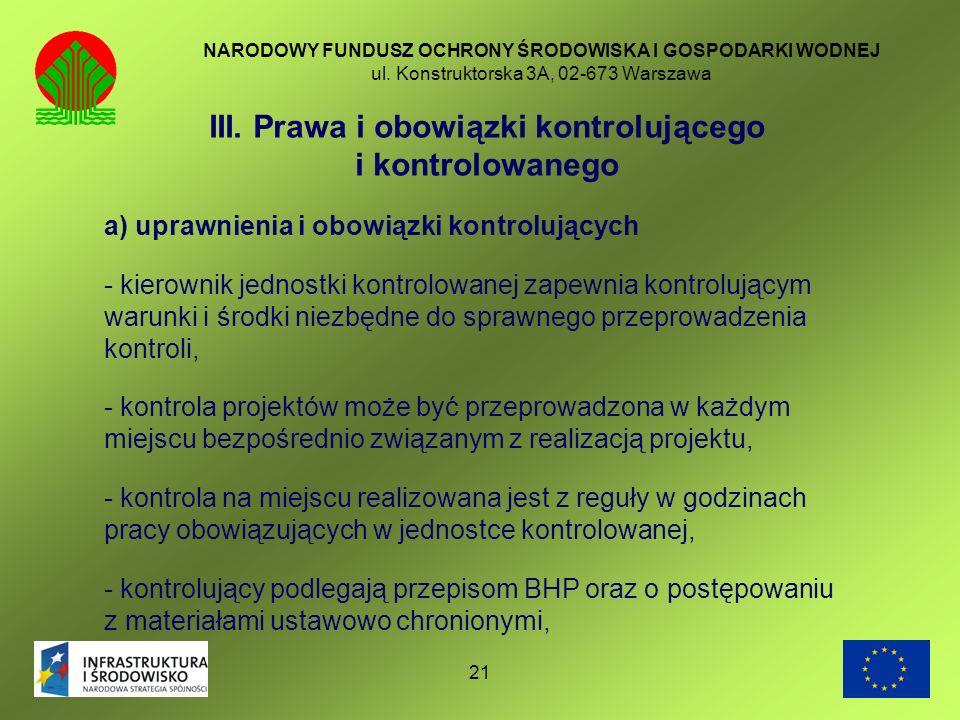III. Prawa i obowiązki kontrolującego i kontrolowanego