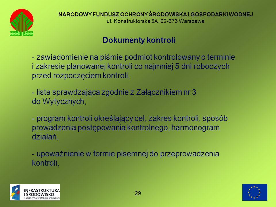 - lista sprawdzająca zgodnie z Załącznikiem nr 3 do Wytycznych,