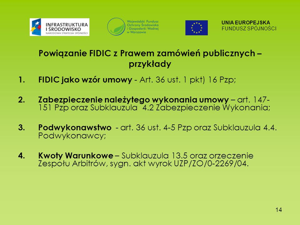 Powiązanie FIDIC z Prawem zamówień publicznych – przykłady