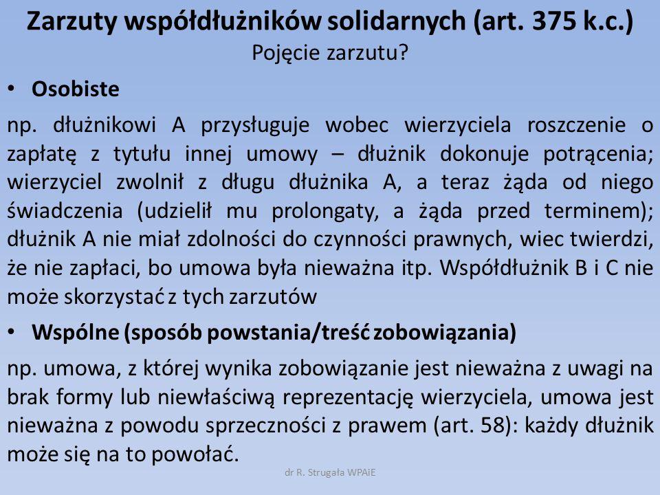 Zarzuty współdłużników solidarnych (art. 375 k.c.)