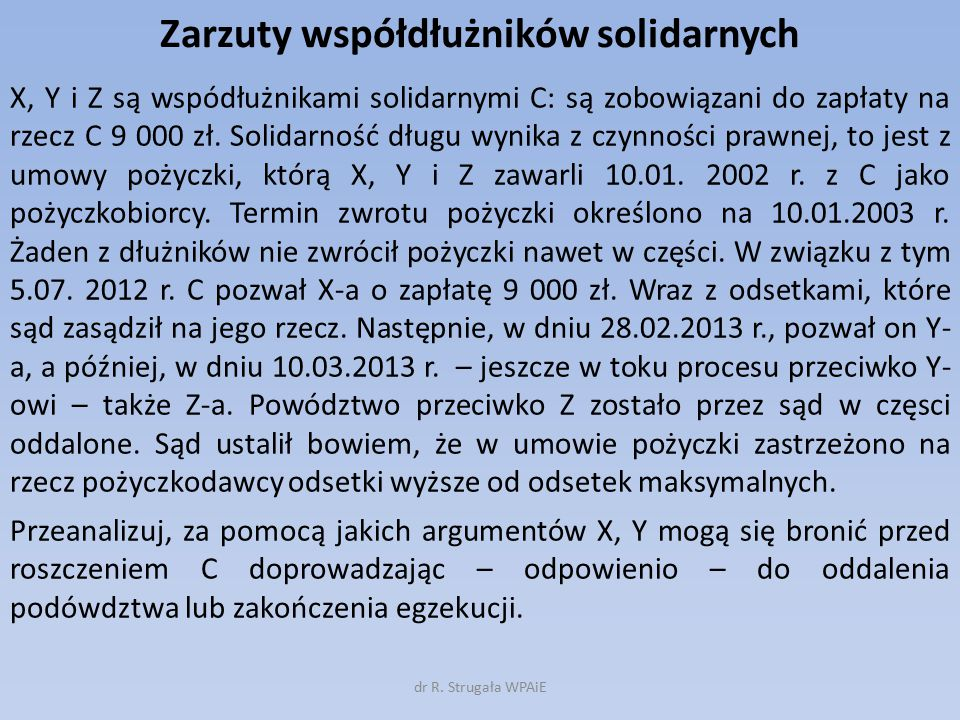 Zarzuty współdłużników solidarnych