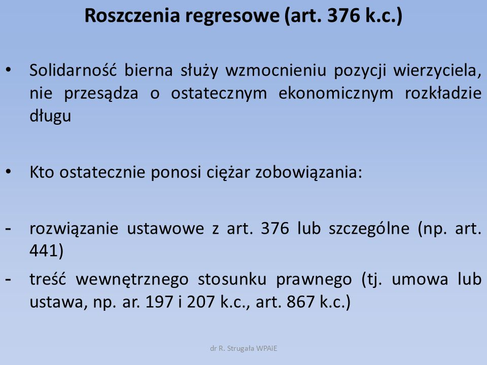 Roszczenia regresowe (art. 376 k.c.)