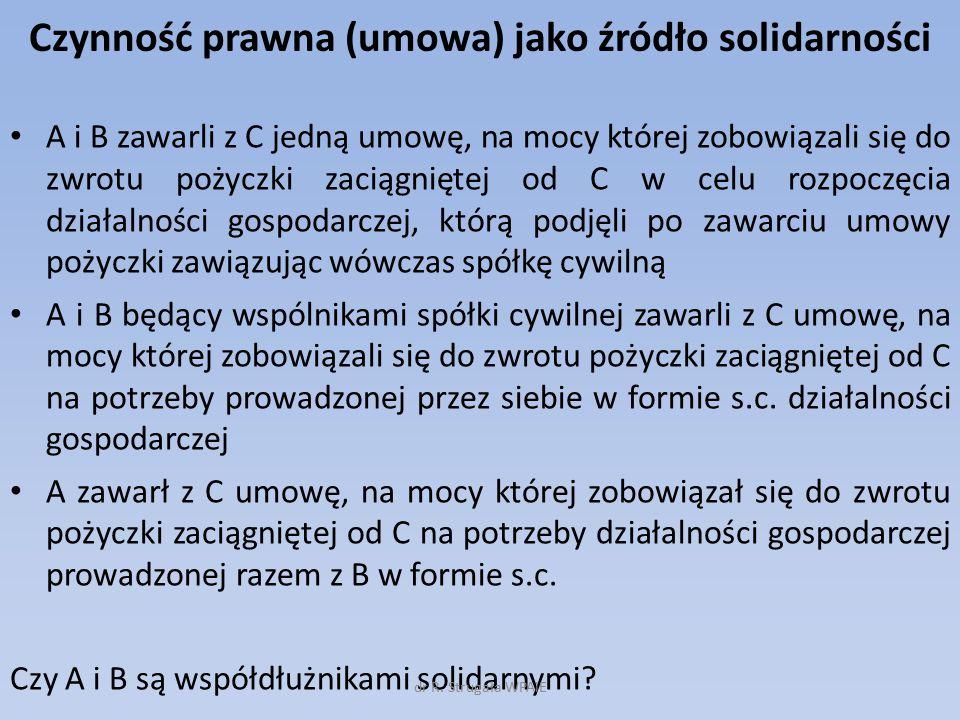Czynność prawna (umowa) jako źródło solidarności