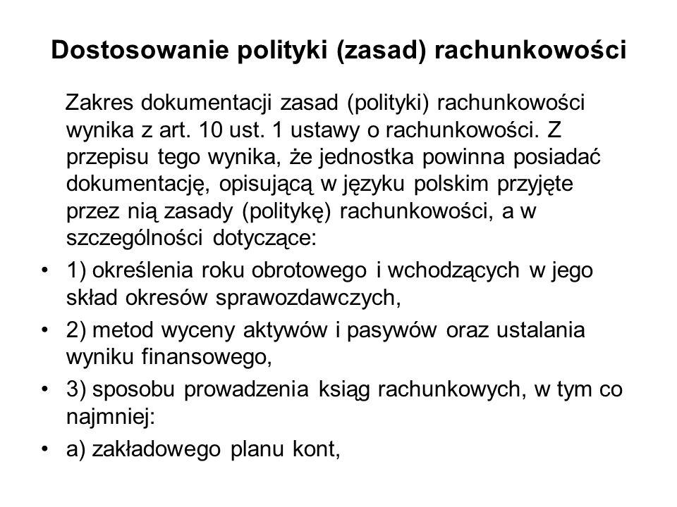 Dostosowanie polityki (zasad) rachunkowości
