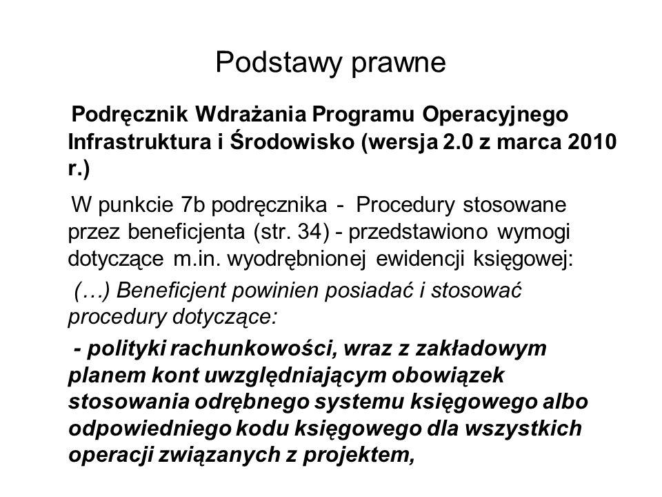 Podstawy prawne Podręcznik Wdrażania Programu Operacyjnego Infrastruktura i Środowisko (wersja 2.0 z marca 2010 r.)
