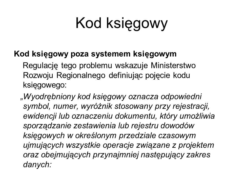 Kod księgowy Kod księgowy poza systemem księgowym