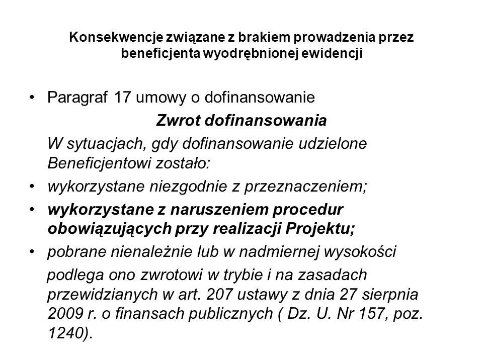 Paragraf 17 umowy o dofinansowanie Zwrot dofinansowania