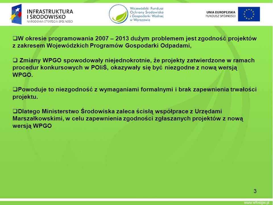 W okresie programowania 2007 – 2013 dużym problemem jest zgodność projektów z zakresem Wojewódzkich Programów Gospodarki Odpadami,