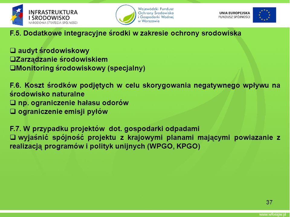 F.5. Dodatkowe integracyjne środki w zakresie ochrony srodowiska