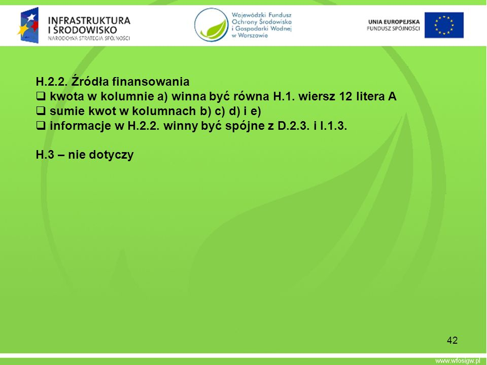H.2.2. Źródła finansowania kwota w kolumnie a) winna być równa H.1. wiersz 12 litera A. sumie kwot w kolumnach b) c) d) i e)