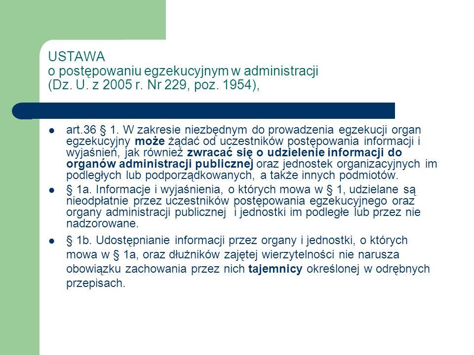 USTAWA o postępowaniu egzekucyjnym w administracji (Dz. U. z 2005 r