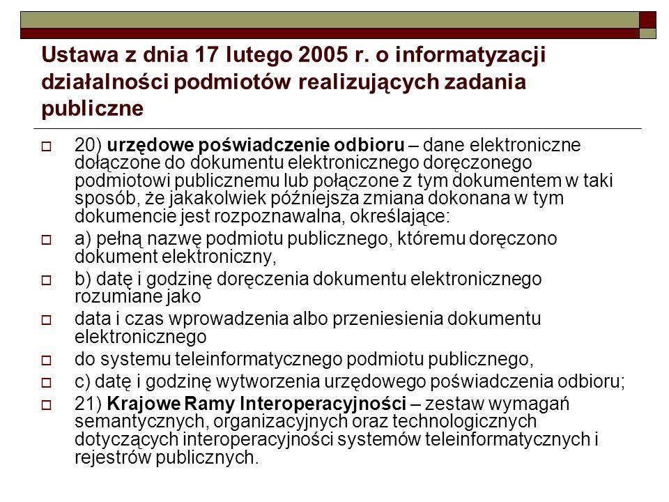 Ustawa z dnia 17 lutego 2005 r. o informatyzacji działalności podmiotów realizujących zadania publiczne
