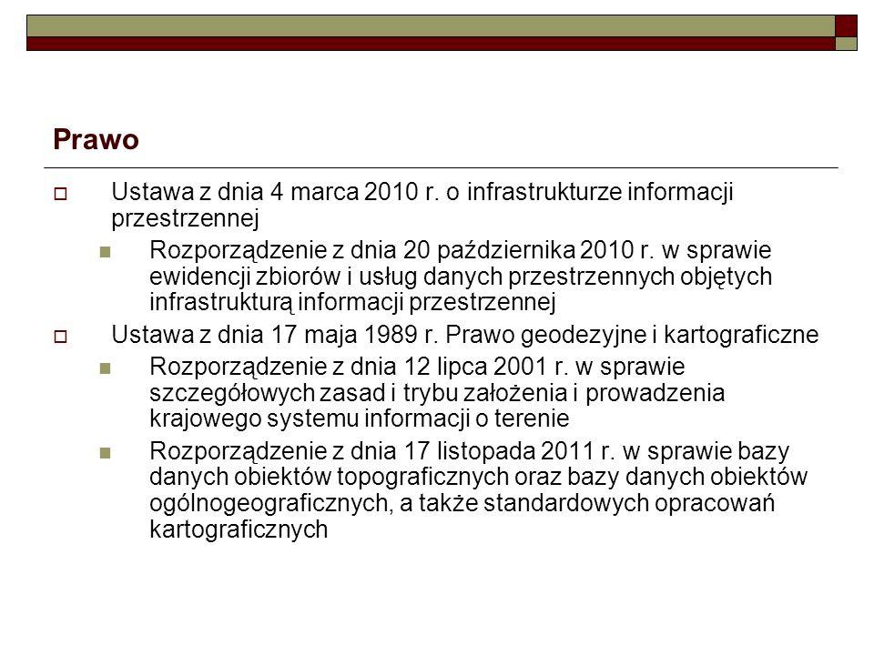Prawo Ustawa z dnia 4 marca 2010 r. o infrastrukturze informacji przestrzennej.