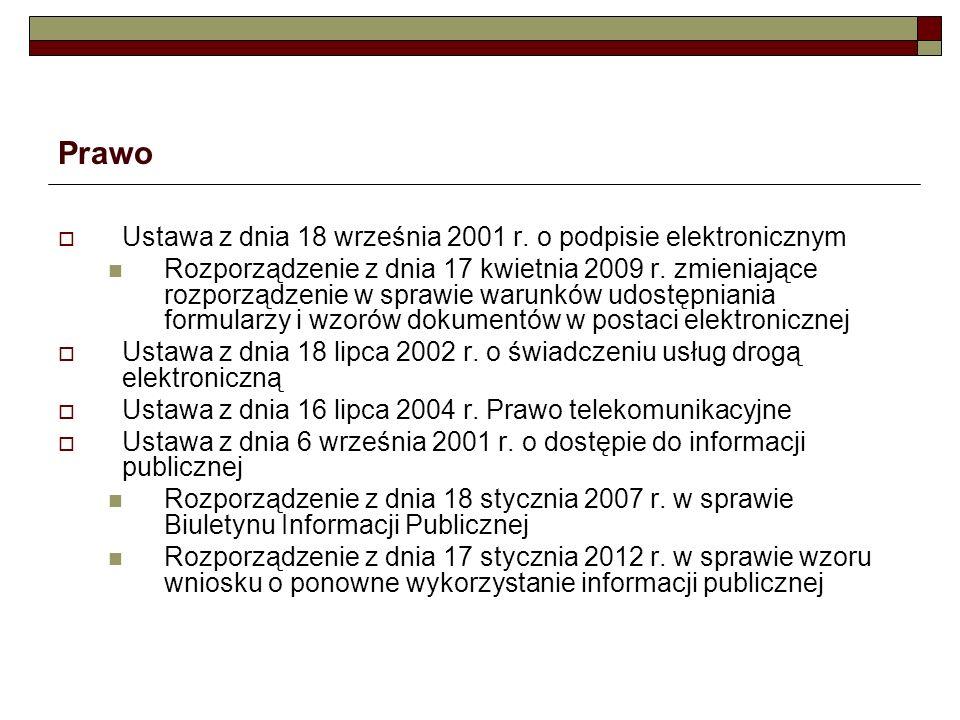 Prawo Ustawa z dnia 18 września 2001 r. o podpisie elektronicznym